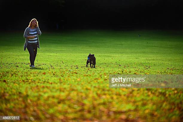 A woman walks a dog in Victoria Park on September 30 2014 in Glasgow Scotland The country is set to be the driest September since records began in...