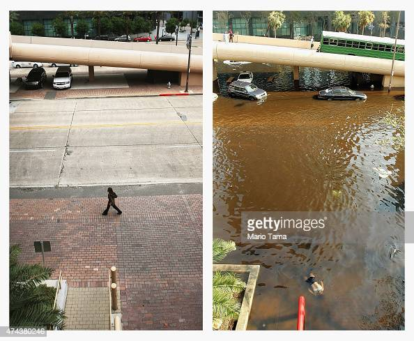 A woman walks along the perimeter of the MercedesBenz Superdome on May 18 2015 in New Orleans Louisiana The tenth anniversary of Hurricane Katrina...