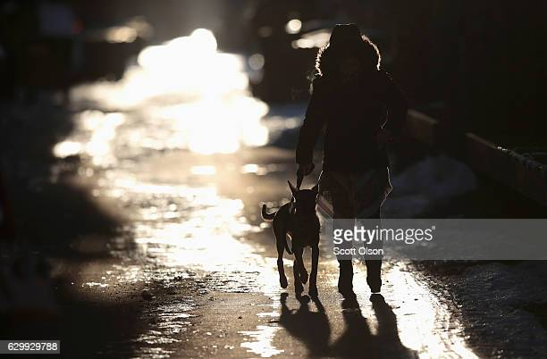 A woman walks her dog down an ice and snow covered alley on December 15 2016 in Chicago Illinois The Chicago area is experiencing the season's first...