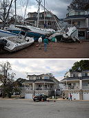 Boats pushed up by Hurricane Sandy lie against residences near a marina on November 2 2012 in the Staten Island borough of New York City NEW YORK NY...