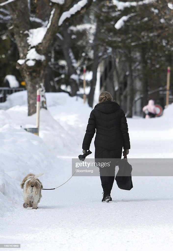 A woman walks her dog through snow covered paths in the town of Davos, Switzerland, on Saturday, Jan. 19, 2013. Next week the business elite gather in the Swiss Alps for the 43rd annual meeting of the World Economic Forum in Davos, the five day event runs from Jan. 23-27. Photographer: Chris Ratcliffe/Bloomberg via Getty Images