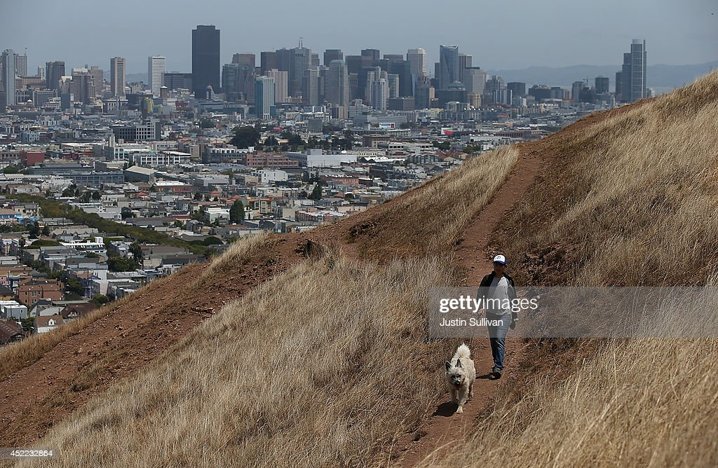 A woman walks her dog walker on a dried section of Bernal Heights Park on July 16, 2014 in San Francisco, California. As the severe drought in California contiues to worsen, the State's landscape and many resident's lawns are turning brown due to lack of rain and the discontinuation of watering.