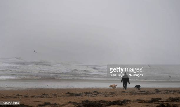 A woman walks her dogs through the wind and rain on South Beach in Bridlington East Yorkshire