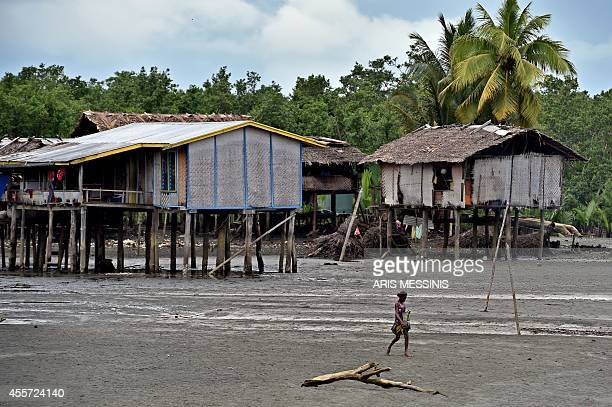 A woman walks in front of houses in the town of Kerema Papua New Guinea on September 5 2014 AFP PHOTO / ARIS MESSINIS
