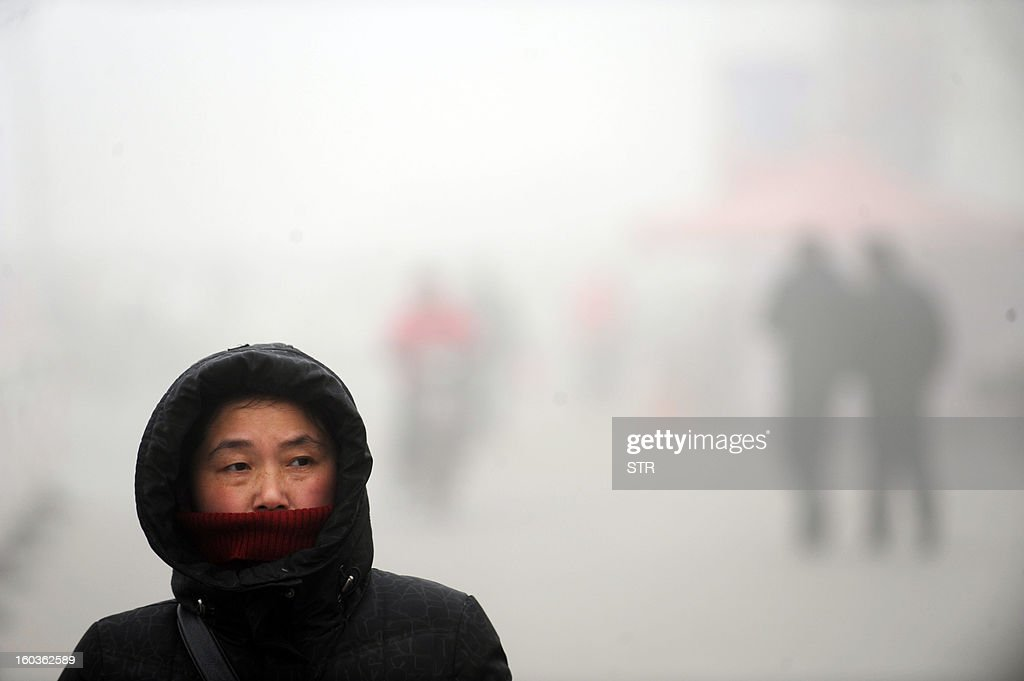 A woman walks in the heavy smog on a street in Haozhou, in central China's Anhui province on January 30, 2013. Across China public frustration mounted this week as dense smog blanketed swathes of the country, with even state-run media questioning the authorities' ability to meet their goal of building a 'beautiful China'. CHINA