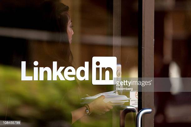 A woman walks into LinkedIn Corp company headquarters in Mountain View California US on Thursday Jan 27 2011 LinkedIn Corp the largest networking...