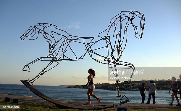 A woman walks next to a sculpture by artist Harrie Fasher titled 'Which way forward' overlooking Sydney's coastline on October 27 2014 16 countries...