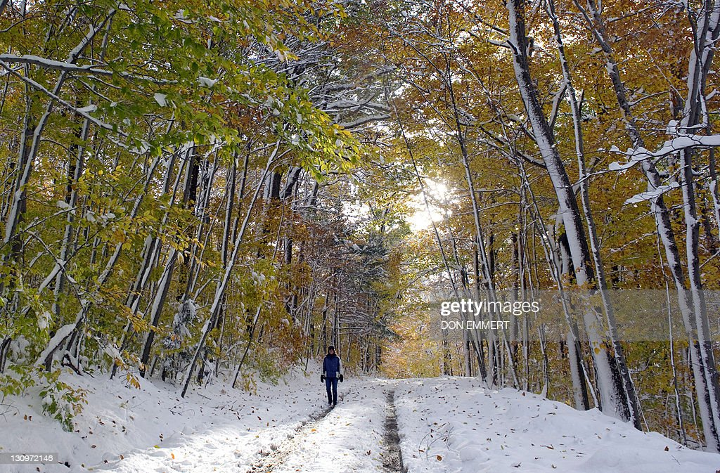 A woman walks on a snow covered road October 30 2011 in Putney Vermont Freezing conditions prevailed on the US East Coast Sunday after a rare October...