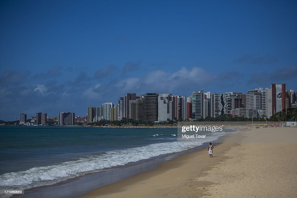 A woman walks on Iracema beach at Fortaleza, host city of FIFA Confederations Cup Brazil 2013 on June 20, 2013 in Fortaleza, Brazil.