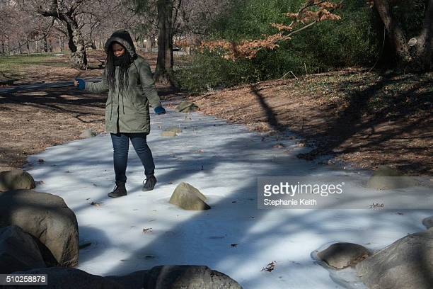 A woman walks on the ice of a frozen stream at the Brooklyn Botanic Garden during an arctic chill that brought frigid temperatures on February 14...