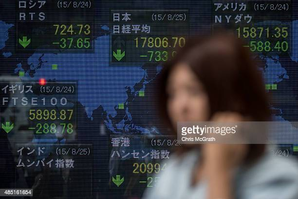 A woman walks past a screen showing global stock market information on the street in Tokyo on August 25 2015 Japan's share prices dropped nearly 40...