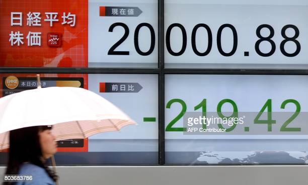 A woman walks past a stock quotation board flashing the Nikkei 225 key index of the Tokyo Stock Exchange in front of a securities company in Tokyo...