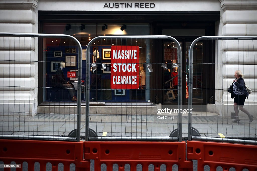 A woman walks past an Austin Reed store on May 31, 2016 in London, England. After going into administration last month and failing to find a buyer, the company today announced that all 120 Austin Reed stores will close by the end of June with a loss 1,000 jobs.