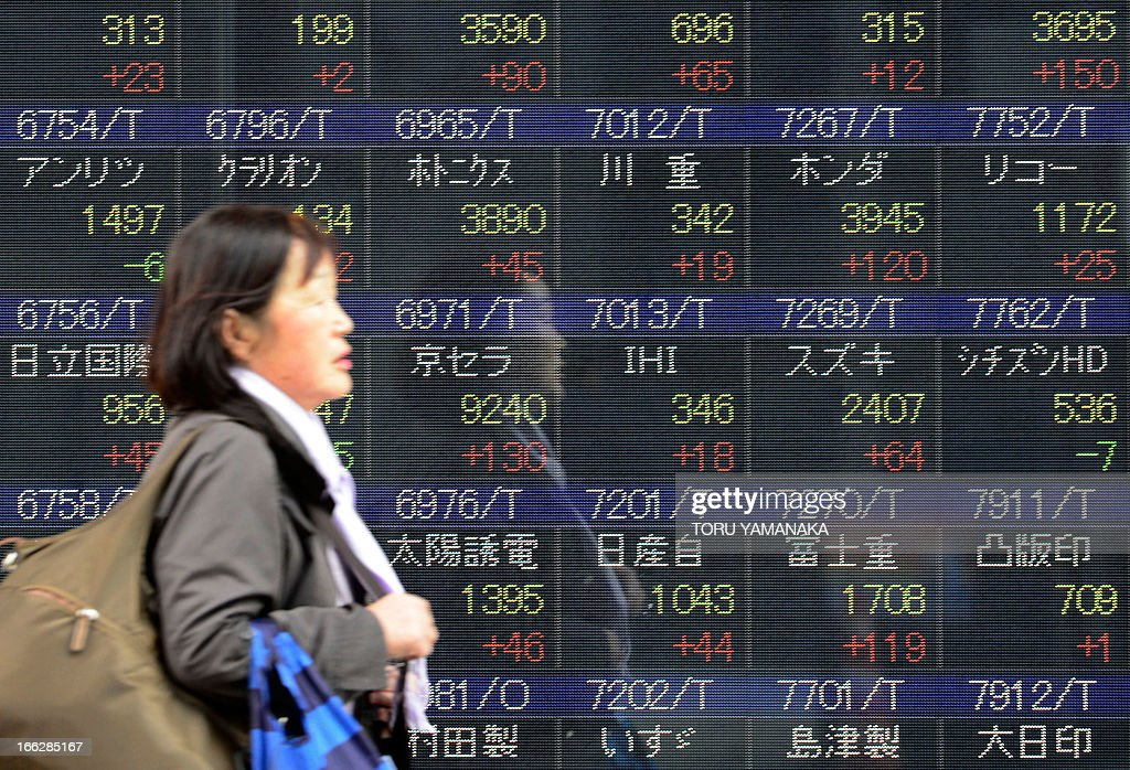 A woman walks past an electric quotation board flashing share prices of the Stock Exchanges (TSE) in front of a securities company in Tokyo on April 11, 2013. Tokyo stocks rallied further on April 11, closing at their highest level since July 2008 with exporters the main beneficiaries as the dollar approaches the 100 yen mark. AFP PHOTO/Toru YAMANAKA
