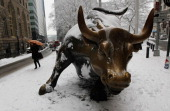 A woman walks past the bronze bull statue near Wall Street in lower Manhattan January 26 2011 in New York City The winter storm is expected to dump...