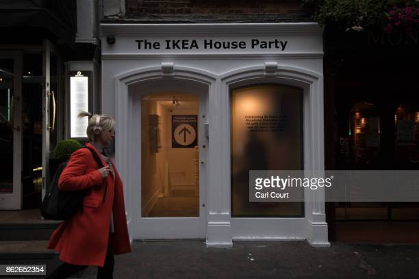 A woman walks past the IKEA house on October 17 2017 in London England The 'IKEA House Party' which is an immersive weeklong series of daytime...