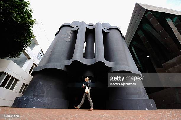 A woman walks past where Google will open a new office in the Binoculars Building designed by famed architect Frank Gehry on January 26 2011 in...