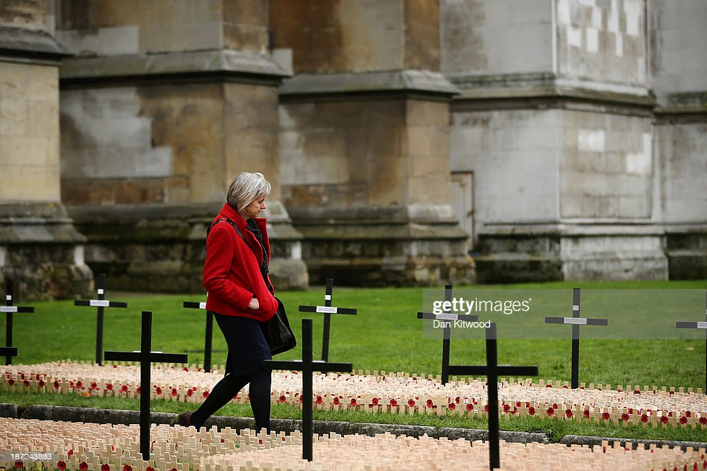 A woman walks through remembrance cross using binoculars outside Westminster Abbey after the official opening of the Royal British Legion's Field of Remembrance on November 7, 2013 in London, England. Hundreds of small crosses bearing a poppy have been planted in the Field of Remembrance to pay tribute to British servicemen and women who have lost their lives in conflict.