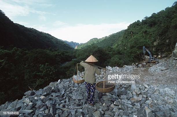 A woman walks through rocks being used to construct a road by a Vietnamese Army Construction Company through the Phong Nha Nature Reserve The...