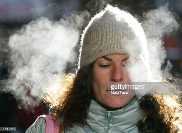 A woman walks through the East Village bundled up for the cold weather January 23 2003 in New York City The East Coast is still in a cycle of frigid...