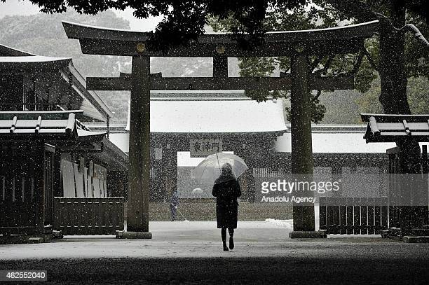 A woman walks through the park of the Meiji Jingu shrine covered with snow in Tokyo Japan on January 30 2015 While rail traffic is disrupted some...
