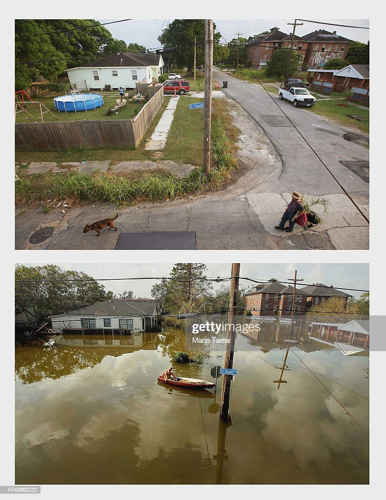 A woman walks with a dog in the Lower Ninth Ward on May 16 2015 in New Orleans Louisiana The tenth anniversary of Hurricane Katrina which killed at...
