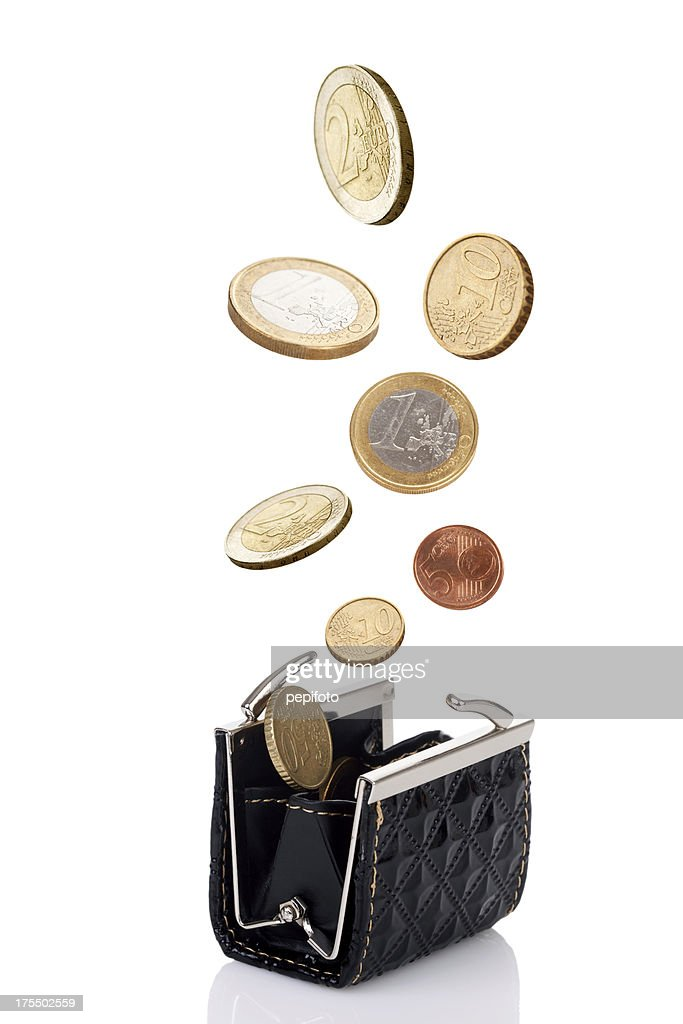 woman wallet with coins