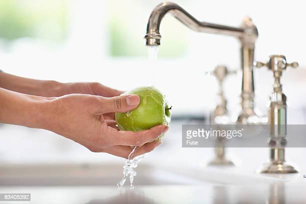 Woman Washing Apple