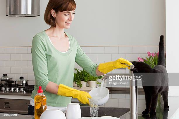 Woman washing up with cat by sink