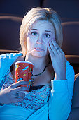 Woman Watching Sad Movie in Theater