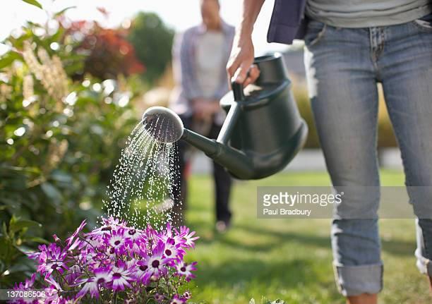Femme arroser les fleurs dans le jardin avec Arrosoir