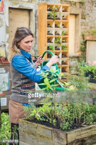 Donna annaffiare le piante in piccolo cortile con giardino for Annaffiare le piante