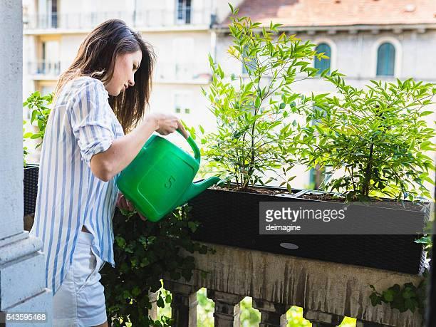 Femme eau les plantes