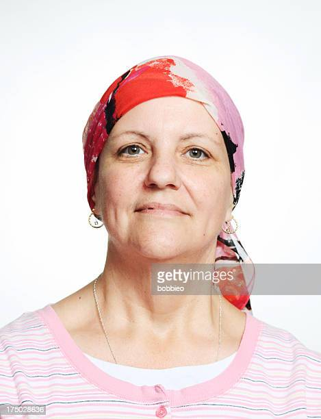 Woman wearing a chemo scarf