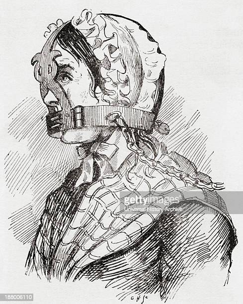 Woman Wearing A Derbyshire Brank Or Muzzle In The 17Th Century From The Strand Magazine Published 1894