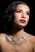 Woman wearing a diamond necklace