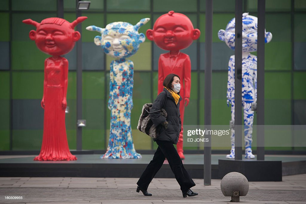 A woman wearing a face mask walks past statues during a spell of heavy pollution in Beijing on January 29, 2013. Pollution levels in Beijing rose above index limits, the US embassy said, as a dense cloud of haze shrouded large swathes of northern China. AFP PHOTO / Ed Jones