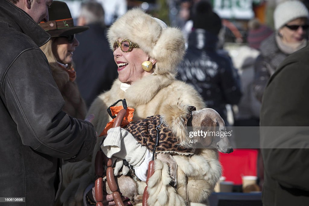 A woman, wearing a fur coat and carrying a dog, chats during the White Turf horse racing event in St. Moritz on February 3, 2013. The races are held on the frozen lake of the Swiss mountain resort. HEGER