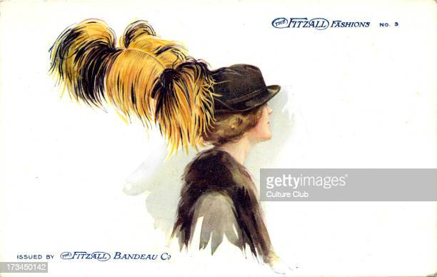 Woman wearing a hat with ostrich feather Produced by the Fitzall Bandeau Company as part of their Fitzall Fashions series