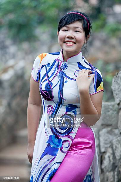 Woman wearing Ao Dai,Vietnamese traditional dress