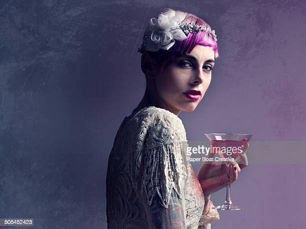 Woman wearing beaded white vintage dress
