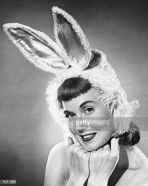 Woman wearing bunny hat