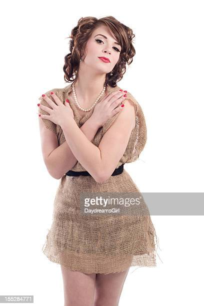 Woman Wearing Burlap Potato Sack Dress