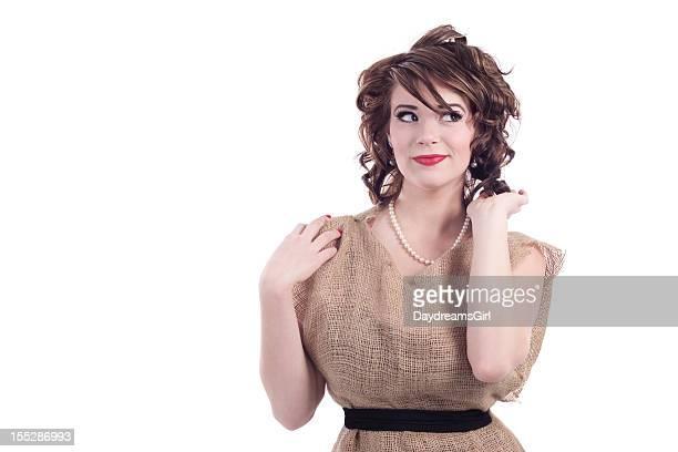 Woman Wearing Burlap Potato Sack Dress