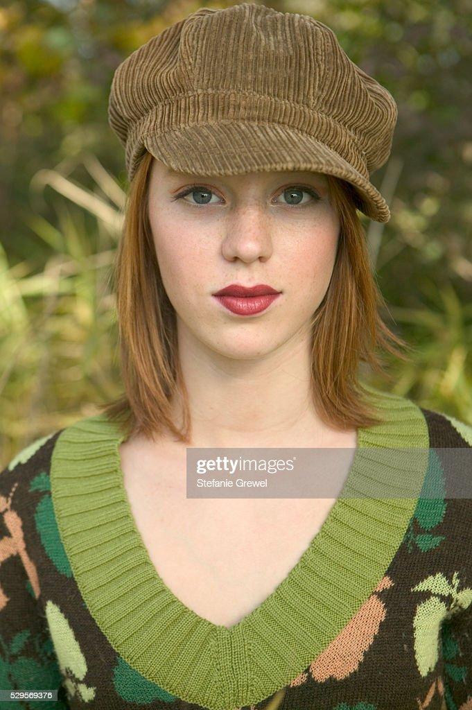 Woman Wearing Cap : Stock Photo