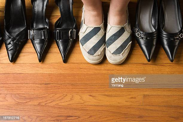 Woman Wearing Comfortable Sports Shoes with Dress Heels Variety Selection