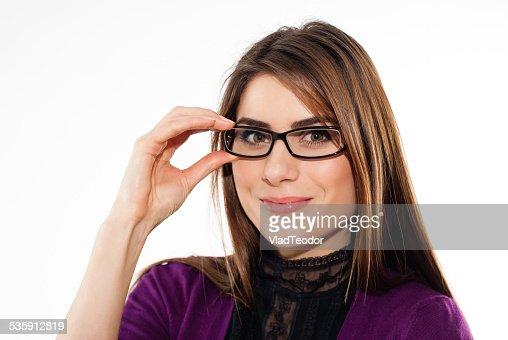 Mulher vestindo Óculos : Foto de stock