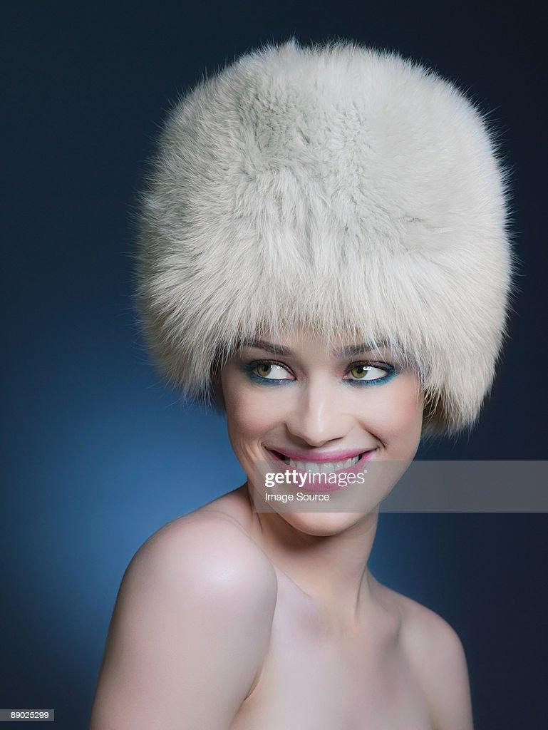 Woman wearing fur hat : Stock Photo