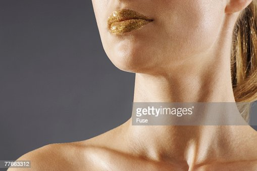 Woman Wearing Gold Lipstick