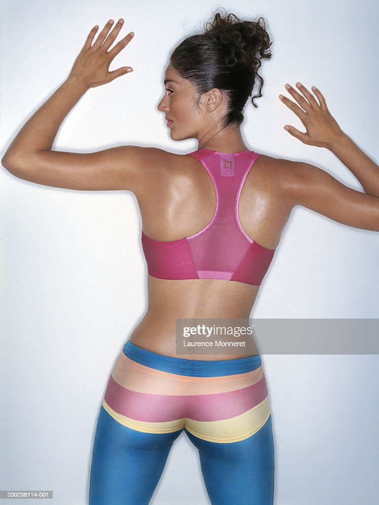 Woman wearing gym clothes, rear view : Stock Photo